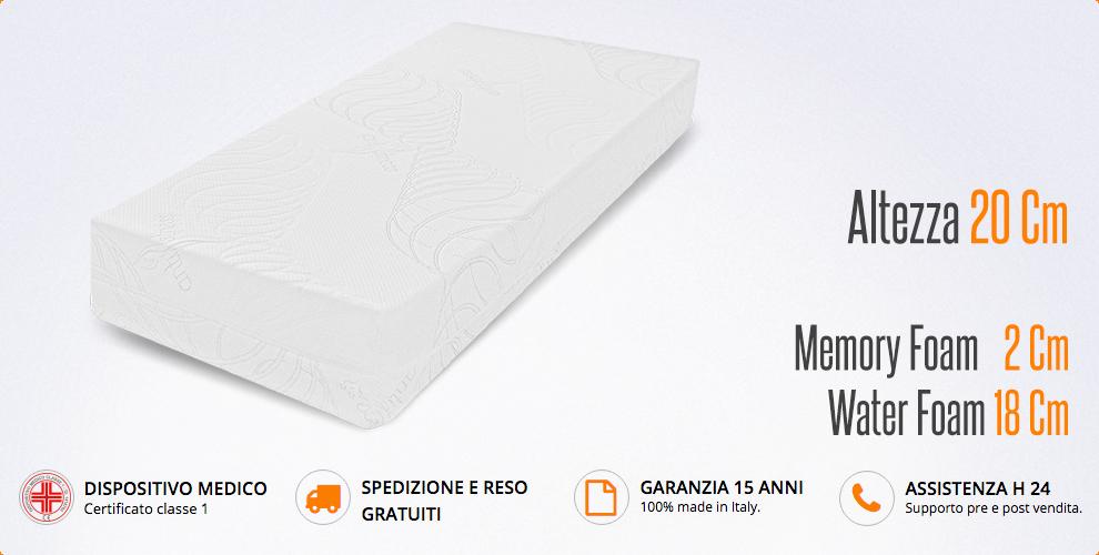 Dispositivo Medico Memory miasuite i sogni italiani Materasso Singolo 85x195 H 20 cm Rigenerante Tessuto Antistress