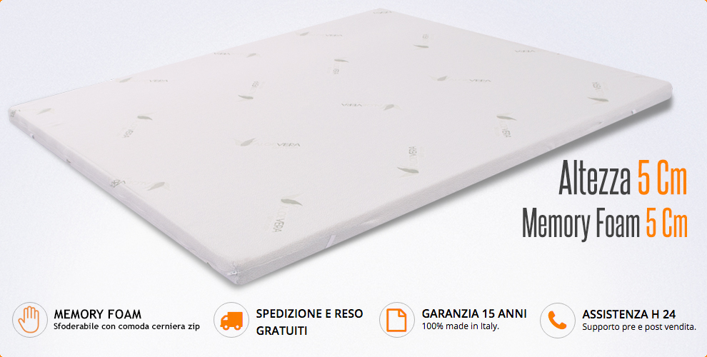 Topper Per Materasso Matrimoniale.Topper Correttore 180x200 Cm In Memory 5cm Aloe Vera Per Materasso